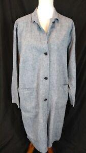Uniqlo Women's Pepper Grayish blue linen duster coat size L