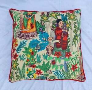 Indian Frida Khalo Home 22x22 Décor Piping Cushion Cover Sofa Pillow Case Covers