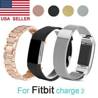For Fitbit Charge 2 Watch Strap Wrist Band Stainless Steel Crystal Classic US
