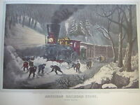 Vintage Currier & Ives America Color Print, American Railroad Scene Snow Bound