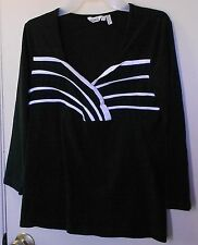 Ravel * Black 3/4 sleeve pullover w/white stripe print on front top size S