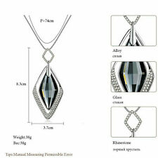 Fashion Women Diamond Crystal Pendant Necklace Long Chain Statement Jewelry Gift