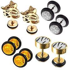 8PCS Fake Gauge Ear Plugs and Earrings Set Screw Stud Cheater Faux Jewelry