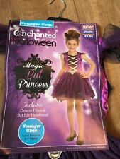 Girls Magic Bat Princess Halloween Costume Dress & Bat Ear Headband Age 5-7y New