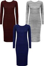Calf Length Scoop Neck Long Sleeve Dresses for Women