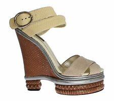 NWT DOLCE & GABBANA Beige Brown Python Snakeskin Strap Shoes EU39 / US8.5