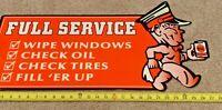 VINTAGE METAL DIE-CUT GAS STATION FULL SERVICE ADVERTISING 27 X 14  BIG OIL SIGN