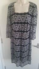 BNWT Roman Originals Ladies Lace Contrast Dress Black/White (UK 18) RRP £35