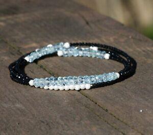 Natural Black Spinel Aquamarine Wrap Bracelet Long Necklace Sterling Silver 925