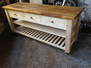 HANDMADE SOLID PINE KITCHEN ISLAND/TROLLEY - IROKO TOP