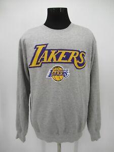 P4931 VTG Majestic NBA Los Angeles Lakers Spellout Sweatshirt Size L