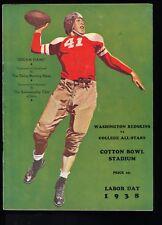 EX PLUS 9/5/1938 Washington Redskins vs College All Stars NFL Program Sam Baugh
