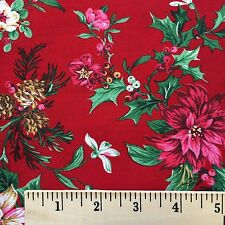 Fabric Cotton Poinsettia Pine Cones Holly Holiday Floral Quilt Craft Print VIP