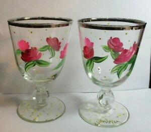 4 Signed Hand Painted Goblets Pink Cabbage Roses & Gold Dots