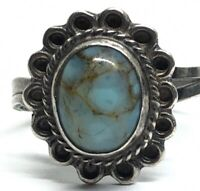 Vintage Sterling Silver Ring 925 Size 7 Mexico Faux Turquoise