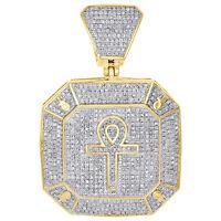 "10K Yellow Gold Diamond Ankh Cross Pendant Octagon Medallion 1.85"" Charm 1.44 CT"