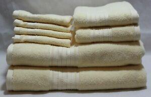 DKNY Eight Piece Solid Light Soft Yellow Bathroom Towel Set 100% Cotton New