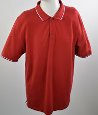 Denver Hayes Men's T-Shirt Stripe Collared Polo Short Sleeve Sz L Stretch RED