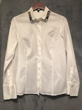 Hugo Boss Women White Blouse with Jewels Size M