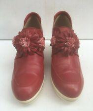 Ladies Red Leather 7 Shoes 41 Wedge Heel Pedro Anton Flower Hook & Loop High VGC