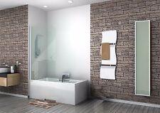 White Heated Towel Rail Wave Designer Radiator 350 mm Wide 1200 mm High Bathroom
