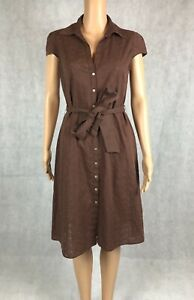 Brown Florence and Fred Button Collared A-Line Dress - UK 8