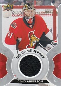 CRAIG ANDERSON NO:GJ-CA UD GAME JERSEY  in UPPER DECK 2017-18  near mint    a