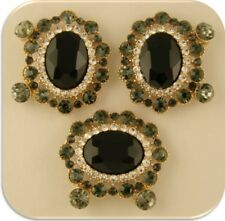 2 Hole Beads Black Oval Facets w/ Smoke & Clear Swarovski Crystal Elements QTY 3