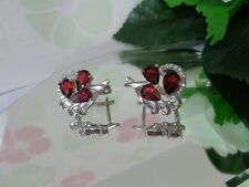 Musical Natural RED GARNET Gemstone & WHITE CZ STERLING 925 SILVER EARRINGS