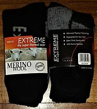 6 PAIRS LADIES SZ 6-11 BLACK MERINO WOOL THERMAL CUSHION FOOT WORK SOCKS