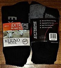 6 PAIRS LADIES SZ 6-11 BLACK MERINO WOOL THERMAL CUSHION FOOT WORK SOCKS