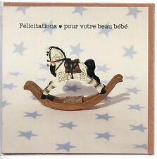 Carte.Garçon.Félicitations pour votre beau bébé.Carte double . 15 cm x 15 cm.
