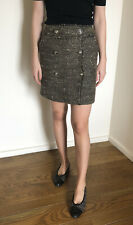 Auth. CHANEL 04A M2586 Fantasy Tweed Wrap Mini Skirt S FR36 Olive Green Brown