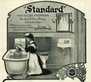 1905 Porcelain Bathtub Clawfoot Victorian Sink Mirror Nanny Bathing Child 4042
