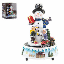 Christmas Light Up Musical Snowman Ornament with Moving Train Battery