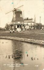 Pella Iowa~Old Mill at Tulip Time~Little Girls Hold Letter Signs~1930s Car~RPPC