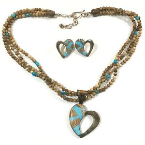 Jay King SS Turquoise & Brown Stone Inlay Heart Pendant Necklace & Earrings Set
