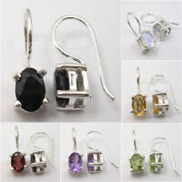 925 Solid Silver DANGLE Earrings, Real Gemstone Birthday Present Women's Jewelry