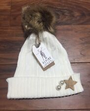 Winter Ladies Large Pom Pom Hat Faux Fur Warm Knitted Hat White