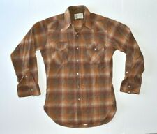 VTG PENDLETON HIGH GRADE WESTERN WEAR Brown Plaid Pearl Snap Shirt SMALL