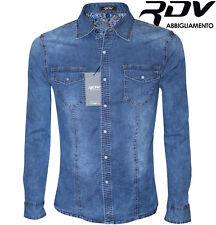 Camicia di Jeans Uomo Slim Fit Maniche Lunghe aderente S M L XL XXL RDV