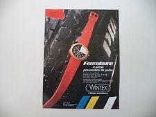 advertising Pubblicità 1984 OROLOGIO WINTEX FORMULAUNO