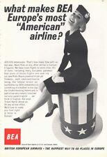 1966 British European Airways BEA Stewardess Vintage Suit  PRINT AD