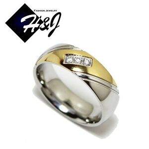 Men's Women's Stainless Steel 7mm Silver Gold Eternity CZ Wedding Band Ring