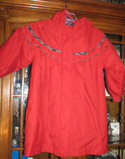Girls red dress coat Plaid trim Pleated front hood winter size 5/6 hooded little