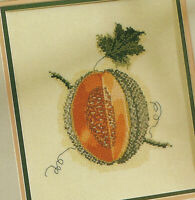 Cantaloupe Summer Fruit Cross Stitch Pattern Chart from a magazine food garden