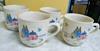 4 International Stoneware Heartland Coffee Tea Mugs Cups Farm House Scene