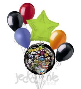7 pc Trash Pack Trashies Balloon Bouquet Party Decoration Happy Birthday Garbage