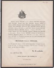 1870 FAIRE-PART DÉCÈS ISABELLE ROUGIER Aix-en-Provence Bouches-du-Rhône