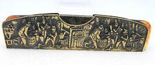 Vintage Gold Tone Repousse Hair Comb Case Villagers Dresser Set Piece